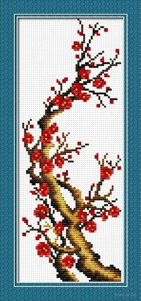 "Вышивка крестом ""Ветка сакуры"" (100x256 мм) — фото, картинка"