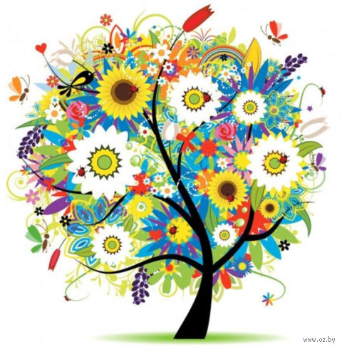 """Алмазная вышивка-мозаика """"Дерево в цветах"""""""
