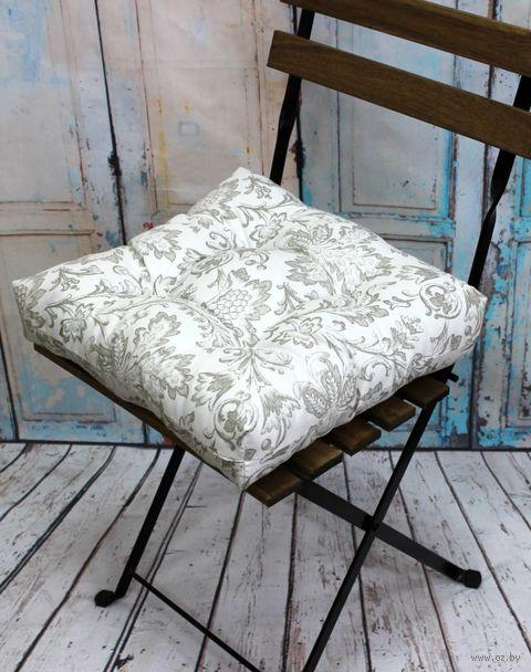 "Подушка на стул ""Printed"" (40х40 см; молочноо-серая) — фото, картинка"