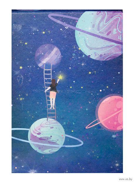 """Зеркало настольное """"Космос. Фиолетовые планеты"""" (арт. KW006-000034) — фото, картинка"""
