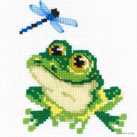 "Вышивка крестом ""Лягушонок"" (150х150 мм) — фото, картинка"