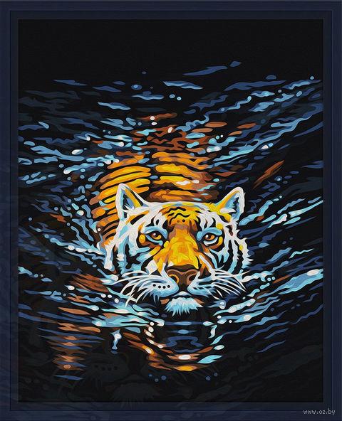 "Картина по номерам ""Плывущий тигр"" (400х500 мм) — фото, картинка"