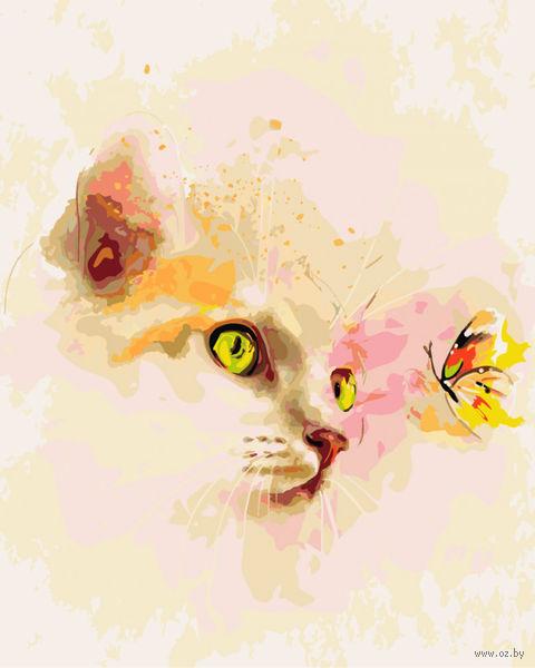 """Картина по номерам """"Котенок и бабочка"""" (500х400 мм) — фото, картинка"""