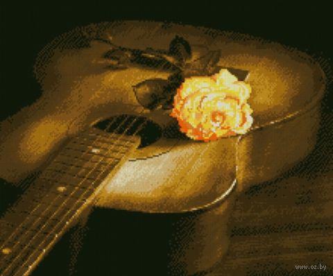 "Алмазная вышивка-мозаика ""Гитара и роза"" (560х470 мм) — фото, картинка"