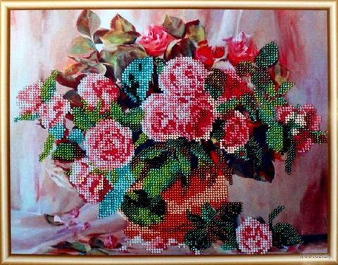 """Вышивка бисером """"Розы в вазе"""" (300х240 мм) — фото, картинка"""