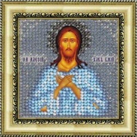 """Вышивка бисером """"Св. Алексий, человек божий"""" (65х65 мм) — фото, картинка"""