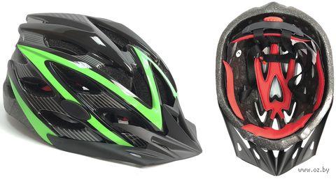 Шлем велосипедный (M; чёрно-зелёный; арт. 20-3M) — фото, картинка