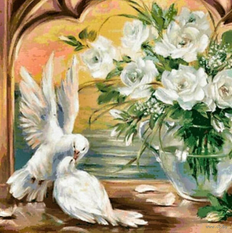"""Алмазная вышивка-мозаика """"Голуби у белых роз"""""""