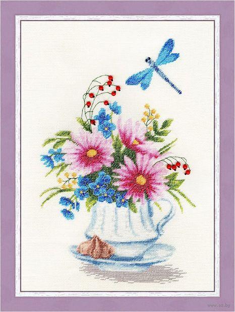 """Вышивка крестом """"Цветочный чай"""" (305х190 мм) — фото, картинка"""
