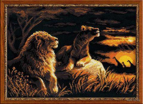 """Вышивка крестом """"Львы в саванне"""" (400х300 мм) — фото, картинка"""