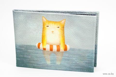 """Обложка для зачетной книжки """"Котик в море"""""""