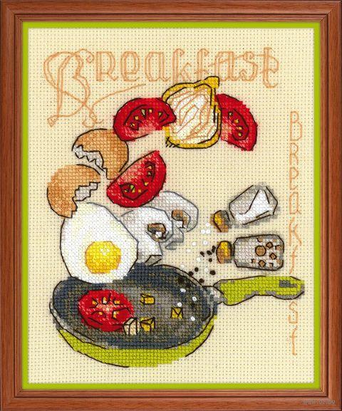 "Вышивка крестом ""Завтрак"" (150х180 мм) — фото, картинка"