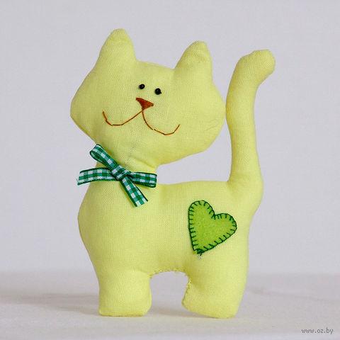 """Кукла ручной работы """"Кот"""" (желтый с бантиком)"""