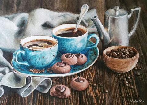 """Алмазная вышивка-мозаика """"Кофейная романтика"""" (400х300 мм) — фото, картинка"""