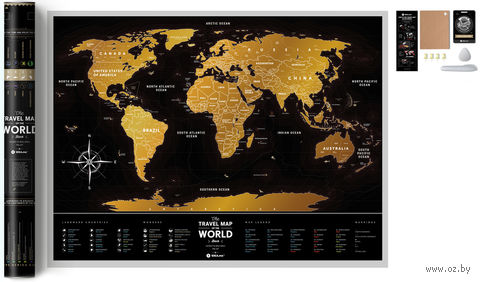 "Скретч-карта ""Black World"" (800х600 мм) — фото, картинка"