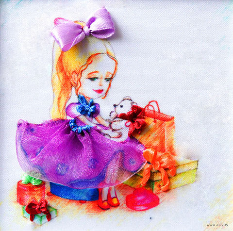 "Вышивка лентами ""Девочка"" (135х135 мм; арт. ВЛДС0004) — фото, картинка"