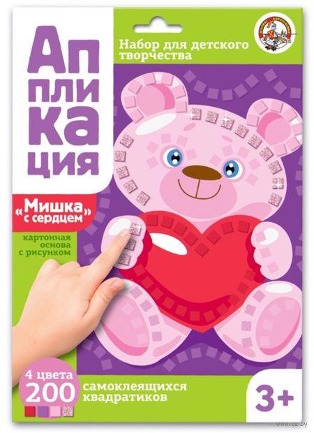 """Картина-аппликация """"Мишка с сердцем"""" — фото, картинка"""