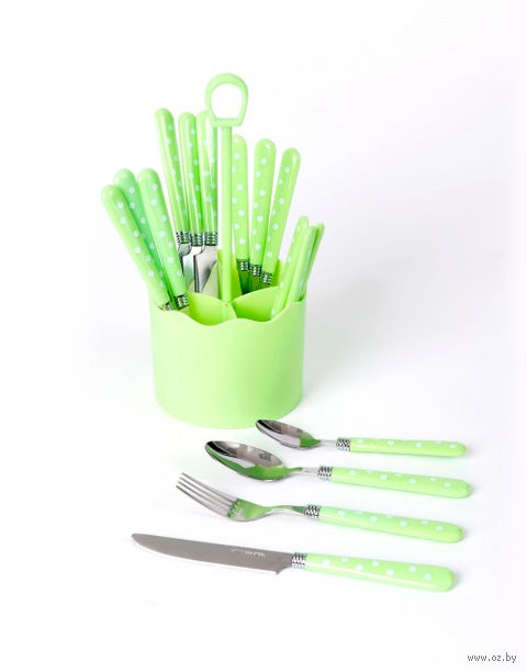 Набор столовых приборов металлических с пластмассовыми ручками в подставке (16 предметов)
