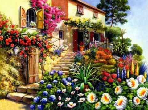 """Алмазная вышивка-мозаика """"Дом в цветах"""" (450х600 мм) — фото, картинка"""