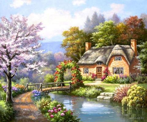 "Алмазная вышивка-мозаика ""Дом у реки"" (600х450 мм) — фото, картинка"
