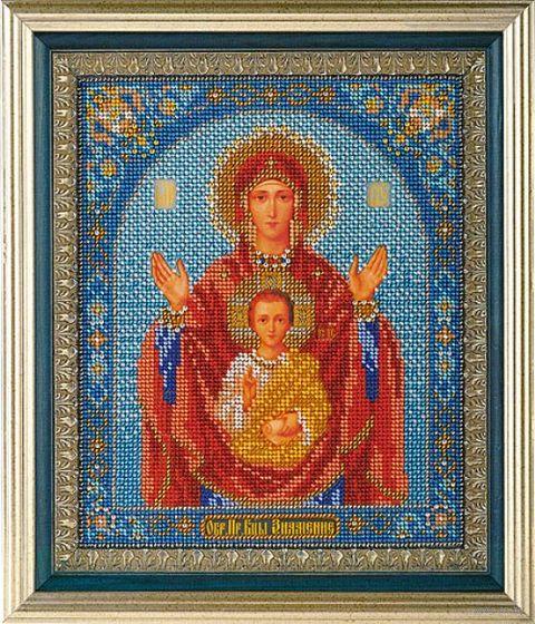 """Вышивка бисером """"Богородица Знамение"""""""