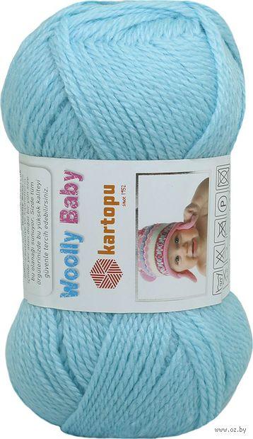 "Пряжа ""KARTOPU. Woolly Baby №K502"" (50 г; 148 м; голубой) — фото, картинка"