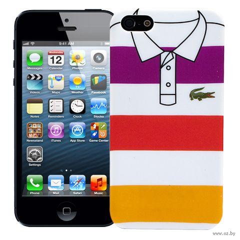 """Чехол для iPhone 5/5S """"Purple and Yellow Stripes"""" (белый) — фото, картинка"""