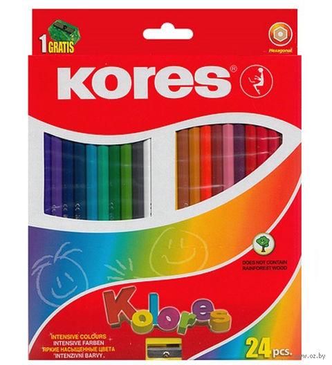 """Цветные карандаши """"KORES KOLORES"""" трехгранные (24 штуки; + точилка)"""