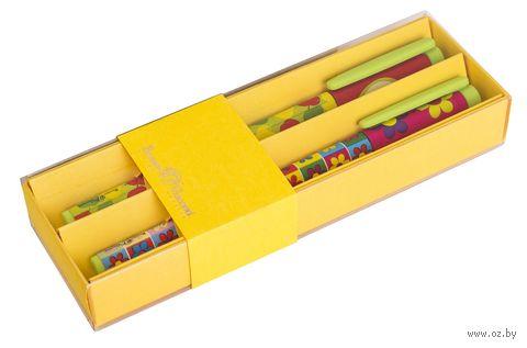 """Набор ручек шариковых синих """"Яблоки. Цветочки"""" (2 шт.; 0,7 мм) — фото, картинка"""