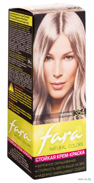 "Крем-краска для волос ""Fara. Natural Colors"" тон: 354, платина — фото, картинка"