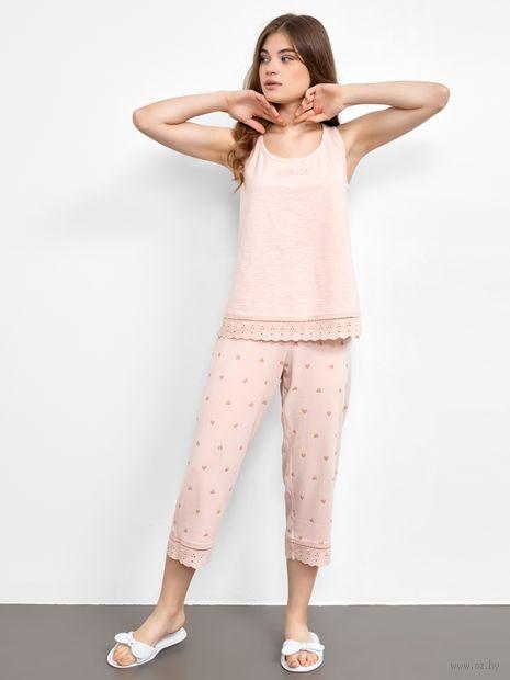"Пижама женская ""592399"" (розовая пудра + сердечки на розовой пудре) — фото, картинка"