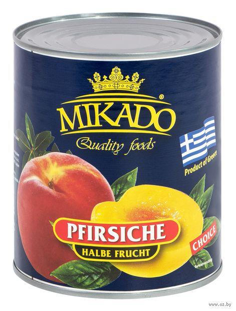 "Персики в сиропе ""Mikado. Половинки"" (850 мл) — фото, картинка"