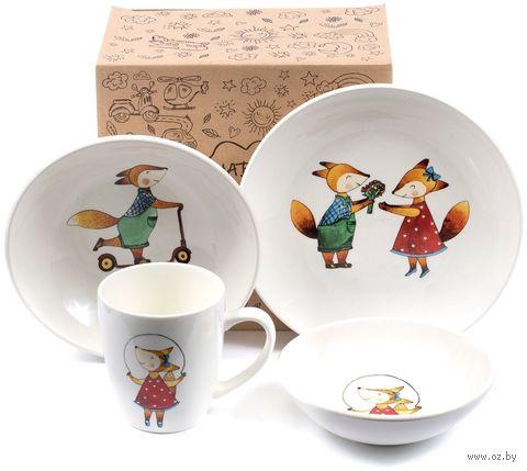 """Набор посуды """"Соната. Забавные лисята"""" (4 предмета) — фото, картинка"""