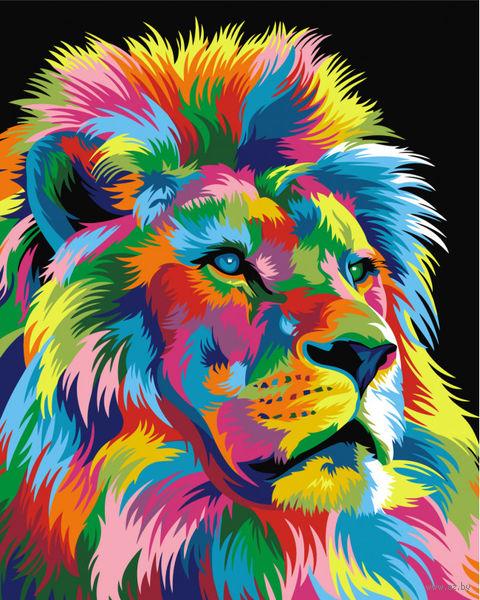 """Картина по номерам """"Ваю Ромдони. Королевский Радужный лев"""" (400х500 мм) — фото, картинка"""