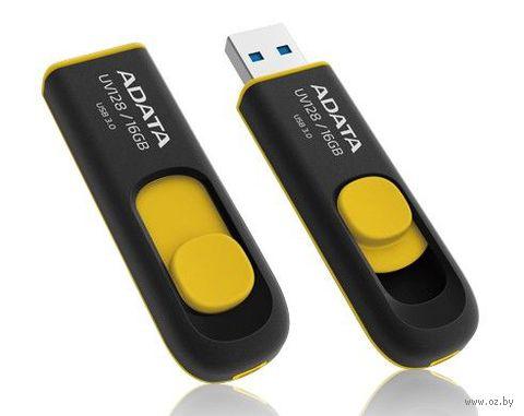 USB Flash Drive 16Gb A-Data UV128 USB 3.0 (Black/Yellow) — фото, картинка
