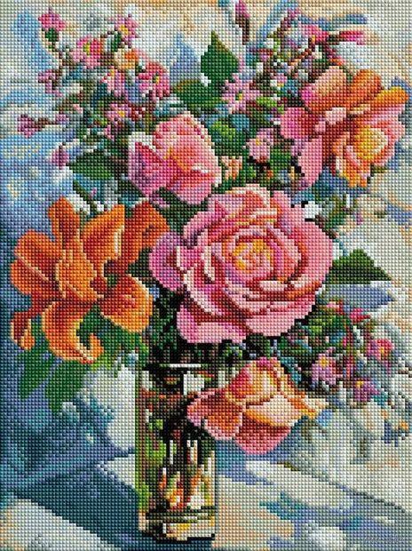 "Алмазная вышивка-мозаика ""Натюрморт с розами"" (300х400 мм) — фото, картинка"