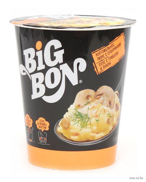 """Пюре картофельное быстрого приготовления с соусом """"Big Bon. С грибами и луком"""" (60 г) — фото, картинка"""