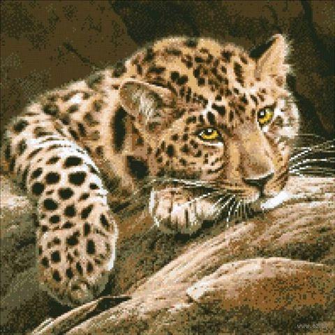 "Алмазная вышивка-мозаика ""Леопард"" (460x460 мм) — фото, картинка"