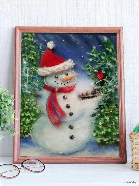 """Картина из шерсти """"Снеговик"""" (200х300 мм) — фото, картинка"""