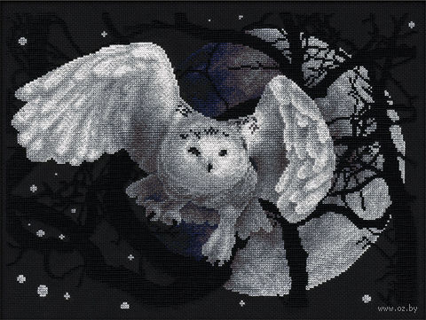 """Вышивка крестом """"Белая сова"""" (360x270 мм) — фото, картинка"""