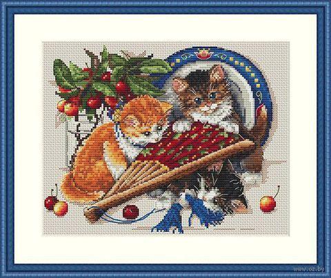 "Вышивка крестом ""Котята и вишни"" (230х250 мм) — фото, картинка"