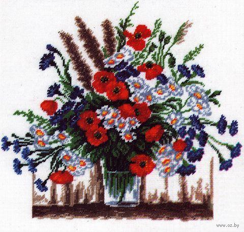 """Вышивка крестом """"Летние цветы"""" (250х250 мм) — фото, картинка"""