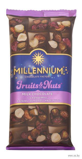 """Шоколад молочный """"Millennium. С миндалем, цельными лесными орехами, клюквой и изюмом"""" (80 г) — фото, картинка"""