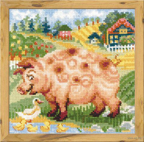 "Вышивка крестом ""Хуторок. Свинка"" (200х200 мм) — фото, картинка"
