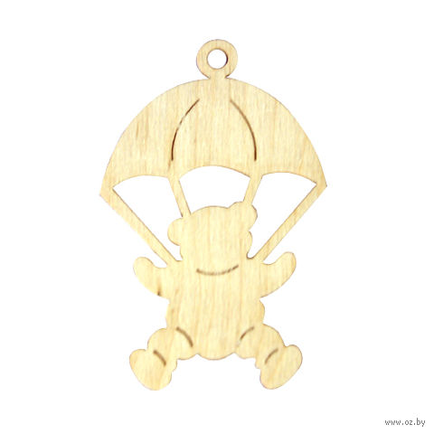 """Заготовка деревянная """"Подвеска. Мишка с парашютом"""" (100х70 мм)"""
