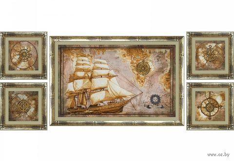 "Вышивка крестом ""Морское путешествие"" (550х340 мм; 140х140 мм) — фото, картинка"