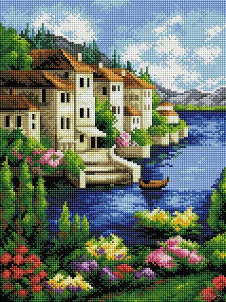 "Алмазная вышивка-мозаика ""Городок на берегу"" (300х400 мм) — фото, картинка"