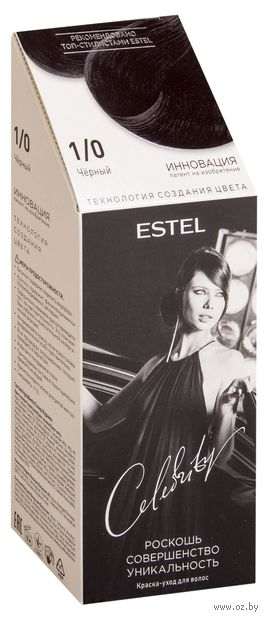 "Краска-уход без аммиака ""Estel Celebrity"" (тон: 1.0, черный)"