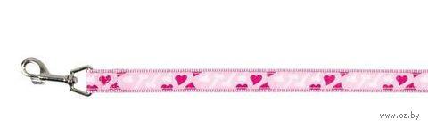 """Поводок для собак """"Modern Art Rose Heart"""" (розовый, размер M-L, 100 см, арт. 15898)"""