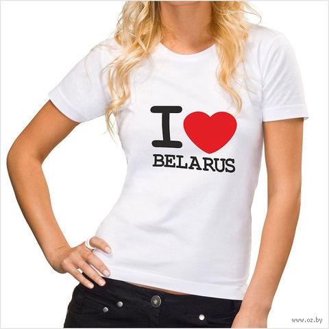 """Футболка женская M """"I LOVE BELARUS"""" (белая)"""